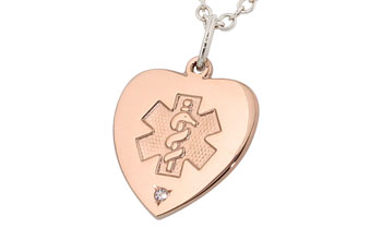 Diamond heart medical alert necklace rose gold aloadofball Image collections