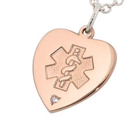 Diamond Heart Medical Alert Necklace - Rose Gold