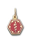 Hexagon Medical ID Pendant in 10K, 14K Gold or Silver - 10mm