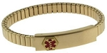 Stainless Steel Expansion Band Medical ID Bracelet - Gold Plated