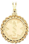 Rope Edge Medical ID Pendant in 10K, 14K Gold or Silver - 25mm