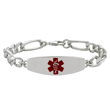 Sterling Silver Medical ID Bracelet with 8 Inch Chain