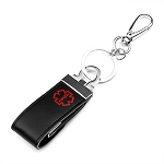 Custom Engraved Leather Medical ID Keychain with USB Flash Drive