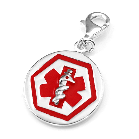 Clip on sterling silver medical id charm pendant mozeypictures Image collections