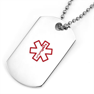 Stainless Steel Dog Tag Pendant with Large Red Medical ID Symbol