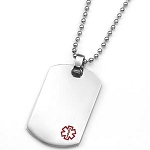 Stainless Steel Dog Tag Pendant with Small Red Medical ID Symbol