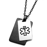 Stainless Steel and Black Plated Double Dog Tag Pendant