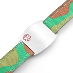 Kids Stainless Steel Medical ID Bracelet with Camouflage Sport Strap