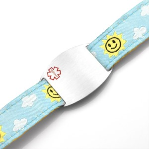 Kids Stainless Steel Medical ID Bracelet with Sun and Clouds Sport Strap
