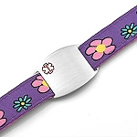 Kids Stainless Steel Medical ID Bracelet with Flowers Sport Strap