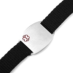 Stainless Steel Medical ID Bracelet with Black Sport Strap