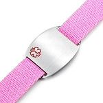 Stainless Steel Medical ID Bracelet with Pink Sport Strap