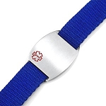 Stainless Steel Medical ID Bracelet with Blue Sport Strap