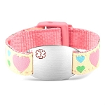 Kids Stainless Steel Medical ID Bracelet with Hearts Sport Strap