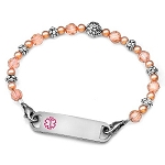 Carnation Pink Stainless Steel Beaded Medical ID Bracelet