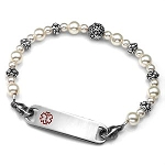Floral Pearl Stainless Steel Beaded Medical ID Bracelet
