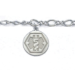 Sterling Silver Round Hexagon Bracelet with Figure Eight Chain