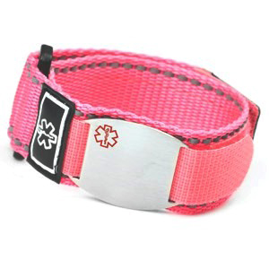 Stainless Steel Medical ID Bracelet with Pink Fast Wrap Sport Strap