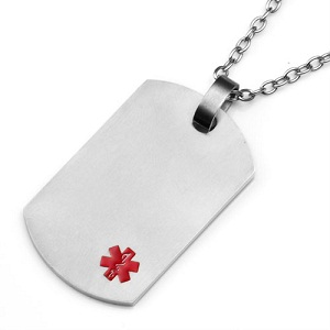 Titanium dog tag pendant with small red medical id symbol mozeypictures Image collections
