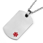 Titanium Dog Tag Pendant with Small Red Medical ID Symbol - 1 x 1.5 inches