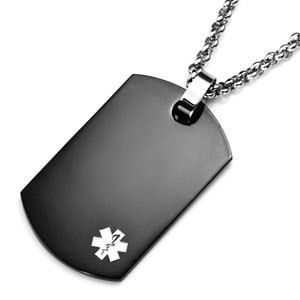 Stainless Steel Black Dog Tag Pendant with Small Gray Medical ID Symbol
