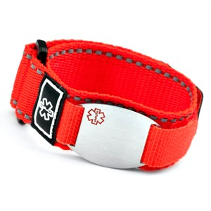 Stainless Steel Medical ID Bracelet with Red Fast Wrap Sport Strap