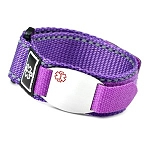 Stainless Steel Medical ID Bracelet with Purple Fast Wrap Sport Strap