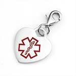 Clip On Stainless Steel Medical ID Charm Pendant - Heart