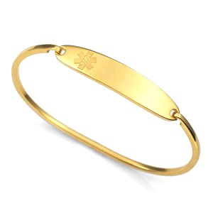 Stainless Steel Medical ID Bangle Bracelet - Gold Plated