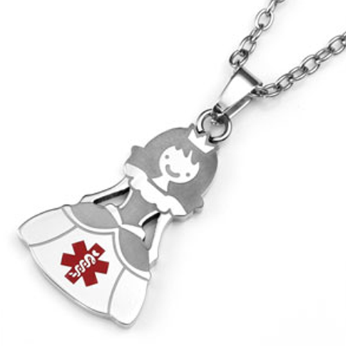 Princess Stainless Steel Medical ID Pendant