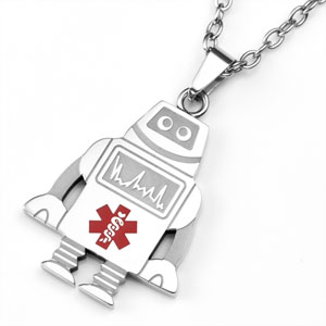 Robot stainless steel medical id pendant mozeypictures Image collections