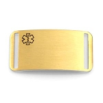 Medical ID Tag for Bracelet Straps - Gold Plated Stainless Rectangle - 1 1/2 Inch Length