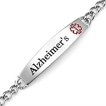 Alzheimers Curb Link Stainless Steel Medical ID Bracelet with 1.5 Inch Plaque