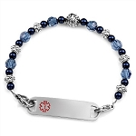 Denim Blue Stainless Steel Beaded Medical ID Bracelet