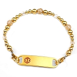 Golden Topaz Stainless Steel Beaded Medical ID Bracelet