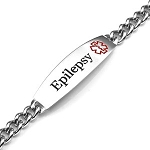 Epilepsy Curb Link Stainless Steel Medical ID Bracelet with 2 Inch Plaque