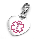 Clip On Stainless Steel Medical ID Charm Pendant - Pink Heart