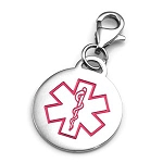 Clip On Stainless Steel Medical ID Charm Pendant - Pink Round