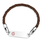 Brown Braided Leather Medical ID Bracelet