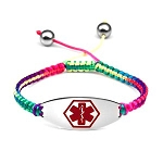 Macrame Satin Cord Stainless Steel Medical ID Bracelet - Rainbow Red