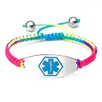 Macrame Satin Cord Stainless Steel Medical ID Bracelet - Rainbow Blue