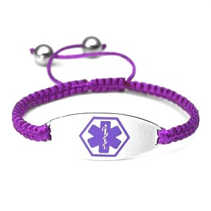 Macrame Satin Cord Stainless Steel Medical ID Bracelet - Purple