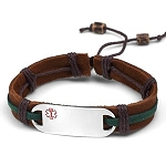 Stainless Steel Medical ID Bracelet with Brown and Green Leather and Hemp Strap