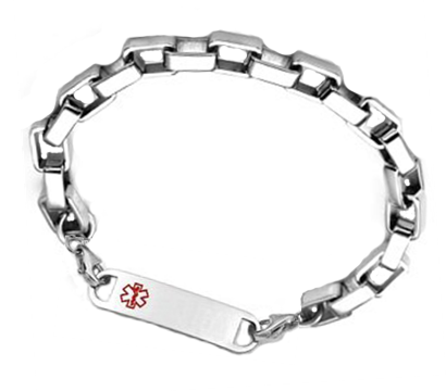 Square Link Stainless Steel Medical ID Bracelet