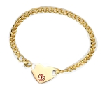 Stainless Steel Gold Plate Heart Medical ID Anklet with Curb Chain - Small Medical Symbol