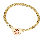 Stainless Steel Gold Plate Heart Medical ID Anklet with Curb Chain - Large Medical Symbol