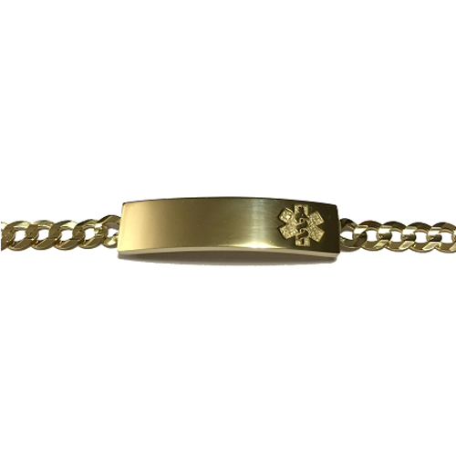 14K Yellow Gold Medical ID Bracelet with Concave Curb Chain