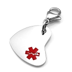 Clip On Stainless Steel Charm Pendant with Small Medical ID Symbol - Heart