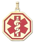 Octagon Medical ID Pendant in 10K, 14K Gold or Silver - 27mm