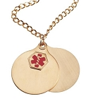 Stainless Steel Medical ID Double Disc Pendant Necklace - Gold Plated